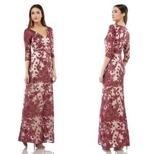 JS Collections Embroidered Lace Gown in Wine Rose